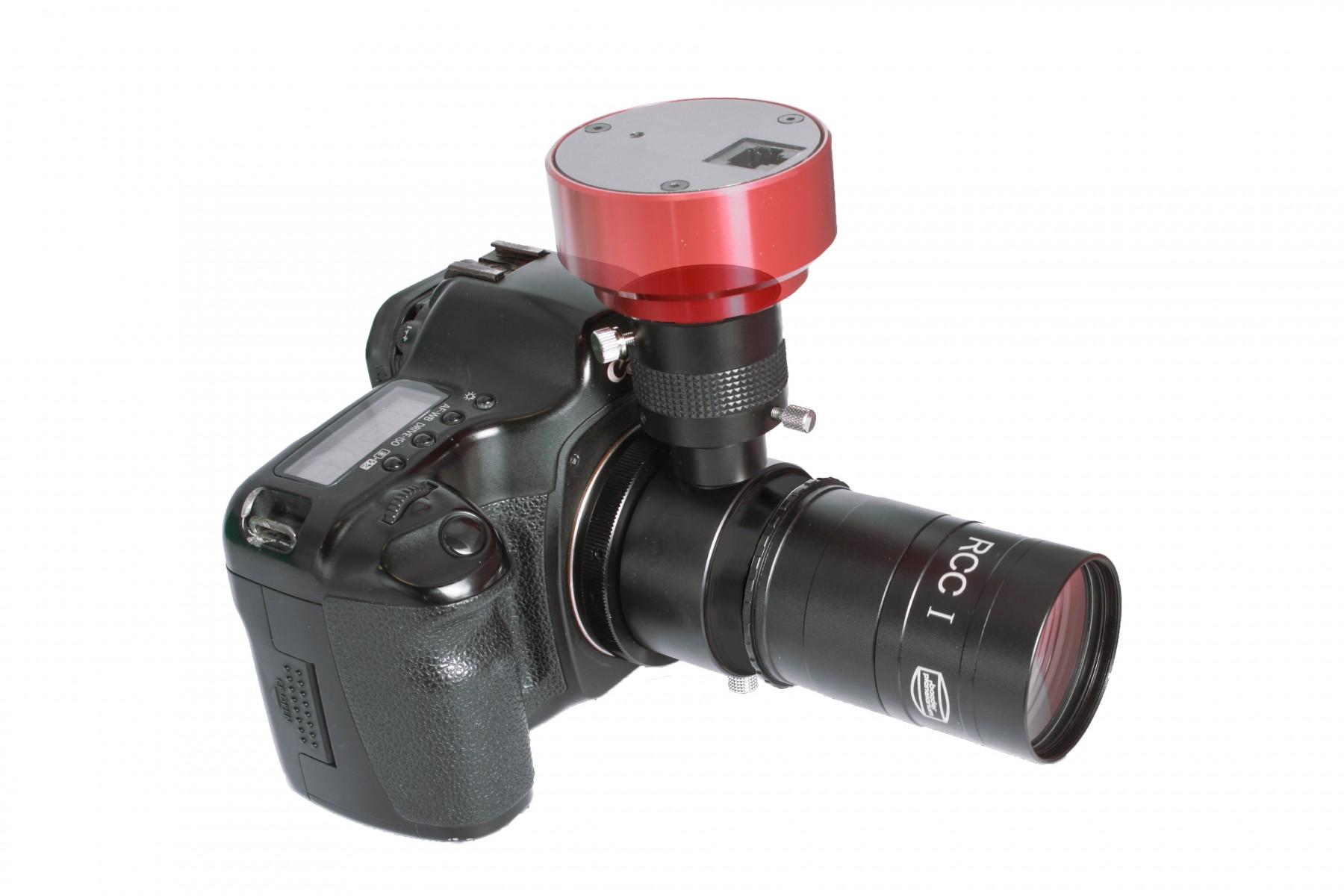Anwendungsbeispiel: Canon EOS DSLR mit RCC Off Axis Guider, LVI Smartguider (nicht mehr erhältlich) und RCC Coma Corrector