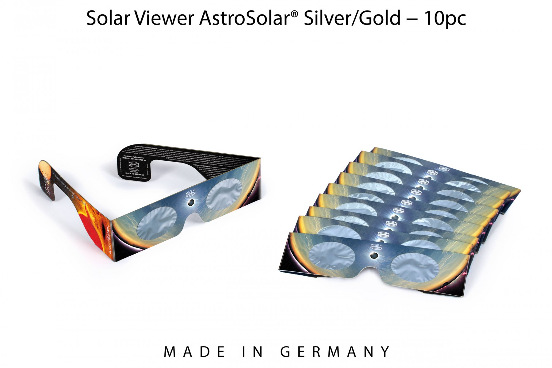 10 x Solar Viewer AstroSolar® Silver/Gold