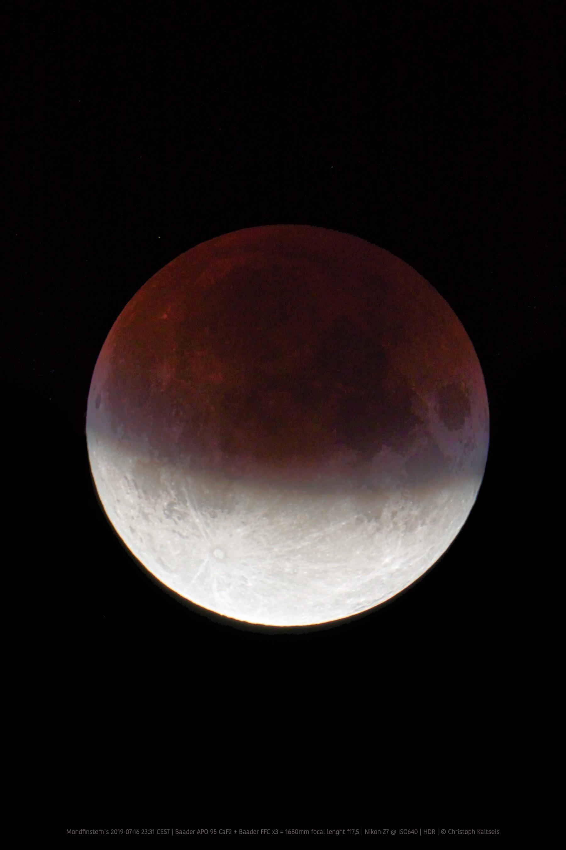 Anwendungsbild: Partielle Mondfinsternis 2019 -07 -16, aufgenommen mit Baader APO95 CaF2 + Baader FFC x3 + Nikon Z7@ISO640, HDR, © C. Kaltseis
