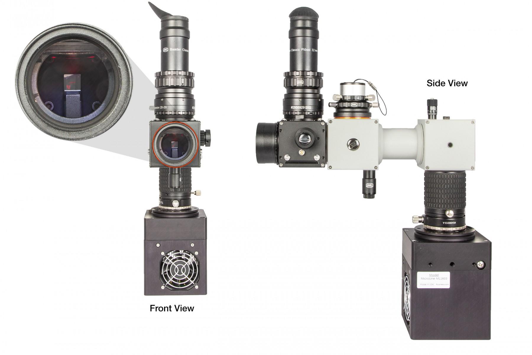 Anwendungsbild: BFM II mit DADOSSpektrograph und CCDKamera – kein anderer Klappspiegel kann eine so schwere Last (mit diesem großen Hebel) tragen, ohne dass spektroskopische Messungen durch Durchbiegung unbrauchbar werden.