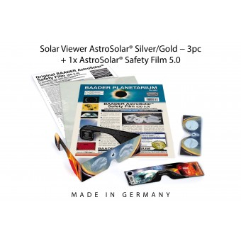 3pc Solar Viewer AstroSolar® Silver/Gold + 1x AstroSolar® Safety Film 5.0 - 20x29 cm