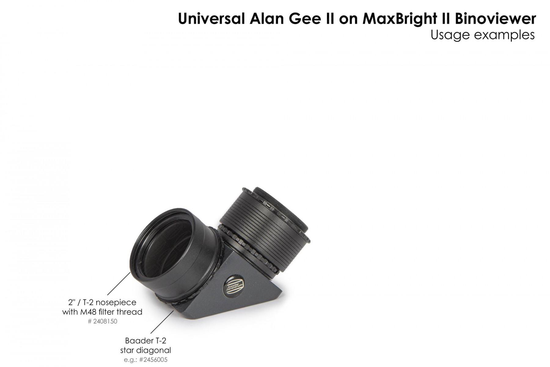 """Anwendungsbild: Universal Alan Gee II #2454405 - Maxbright SetUp mit 2""""/T-2 Steckanschluss mit M48 Filtergewinde #2408150 und T-2 Zenitspiegel #2456005"""