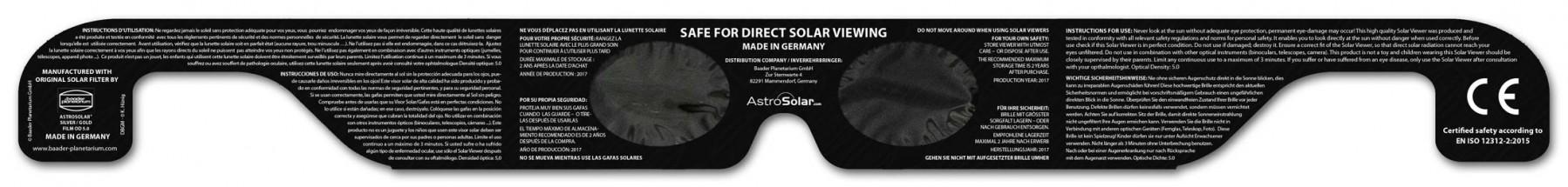 Solar Viewer AstroSolar® Silver/Gold - Rückseite