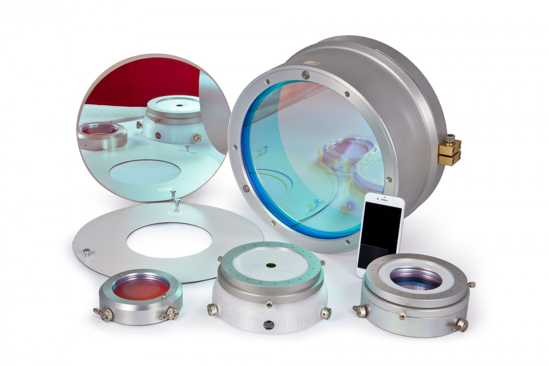 Anwendungsbild: D-ERF Filter in verschiedenen Größen. Erforderlich für den Einsatz von SolarSpectrum H-alpha Filtern