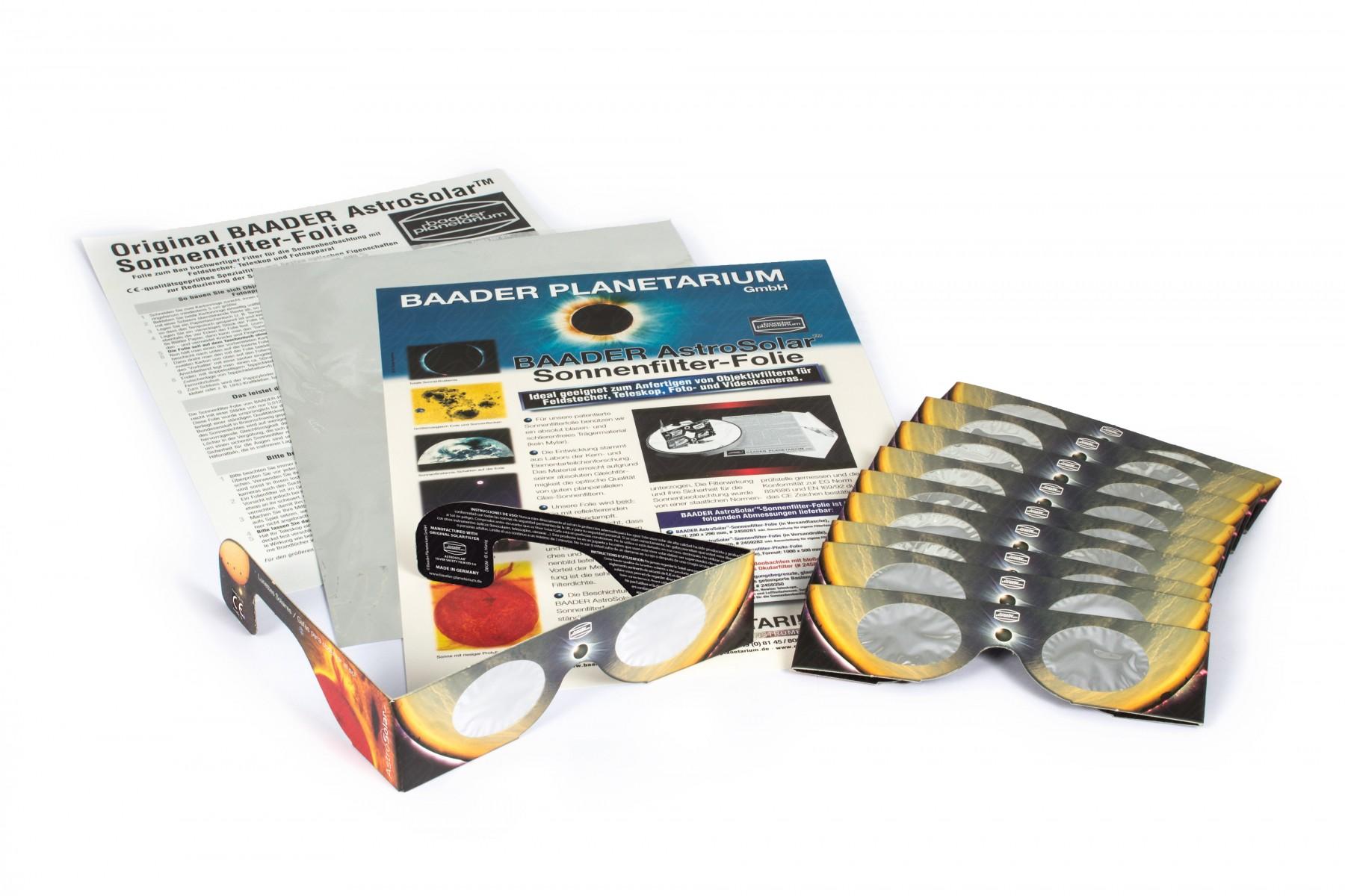 10x Solar Viewer Sonnensichtbrillen + 1x AstroSolar A4 Folie