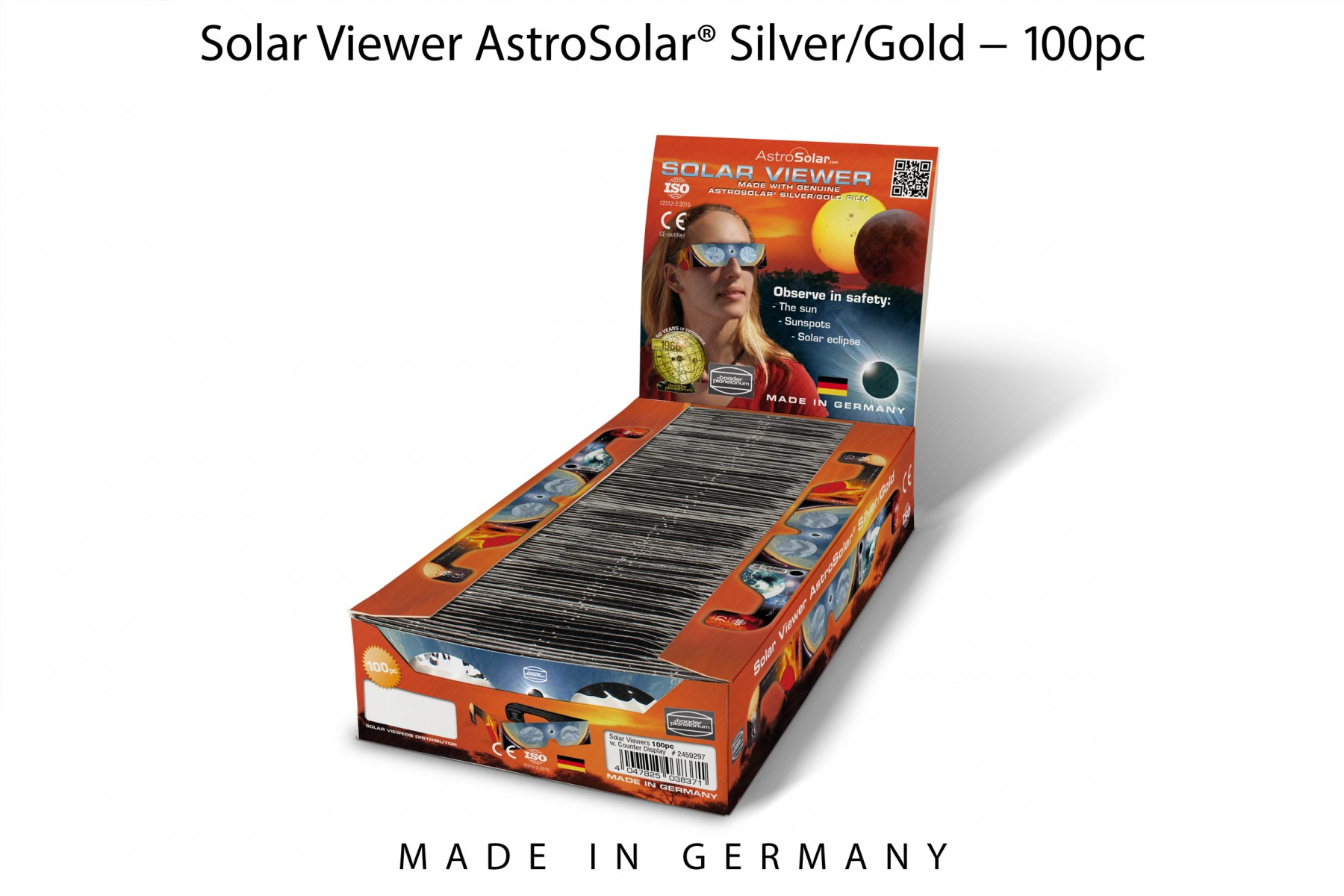 100 x Solar Viewer AstroSolar® Silver/Gold im Thekendisplay