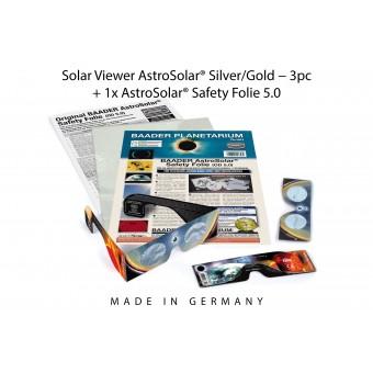 3x Solar Viewer AstroSolar® Silver/Gold + 1x AstroSolar® Safety Folie 5.0 - 20x29 cm