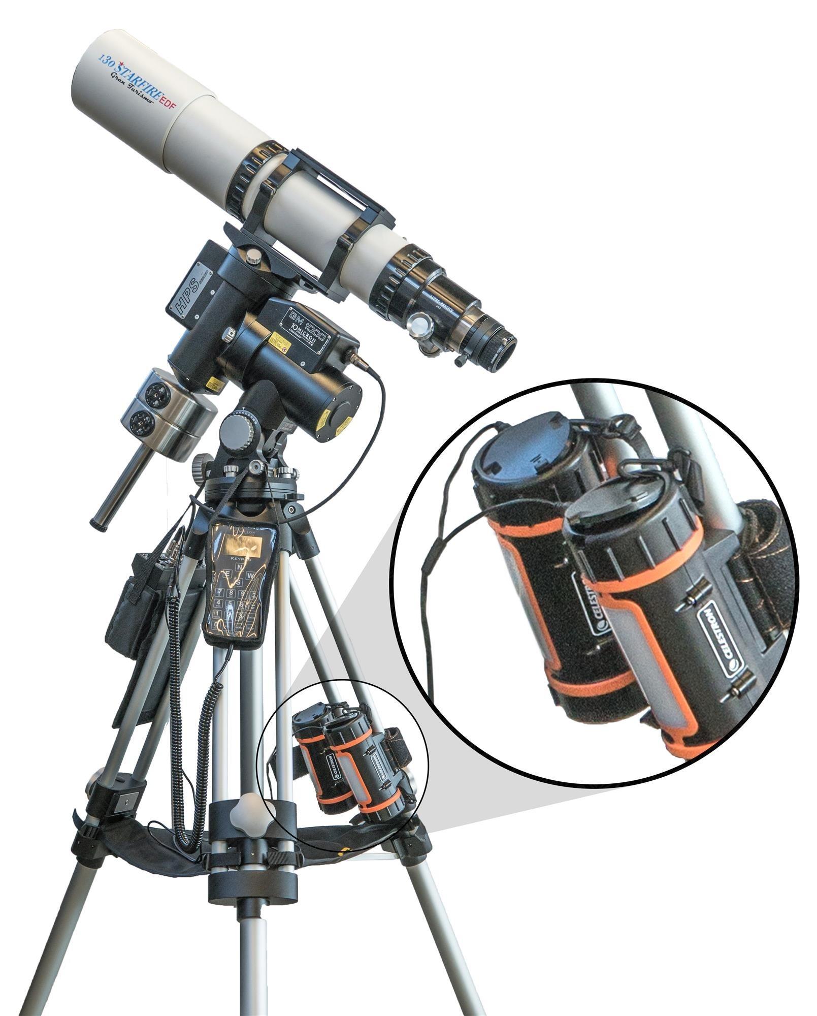 Anwendungsbeispiel: zwei Celestron Power Tanks LiFePO4 mit Baader Dual-Mode-Set (Power Tank, Teleskop und Montierung) nicht in Lieferumfang enthalten)