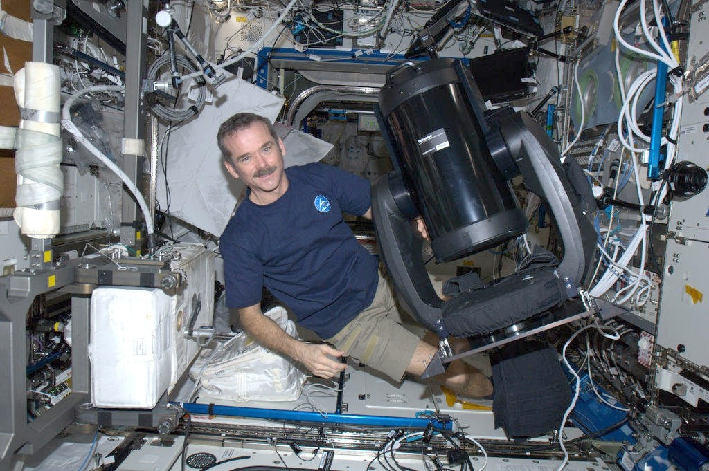 Application image: January 2013 - Chris Hadfield with the CPC 9.25 with the Feather Touch Focuser on the ISS