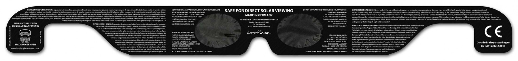 Solar Viewer AstroSolar® Silver/Gold - Rückseite