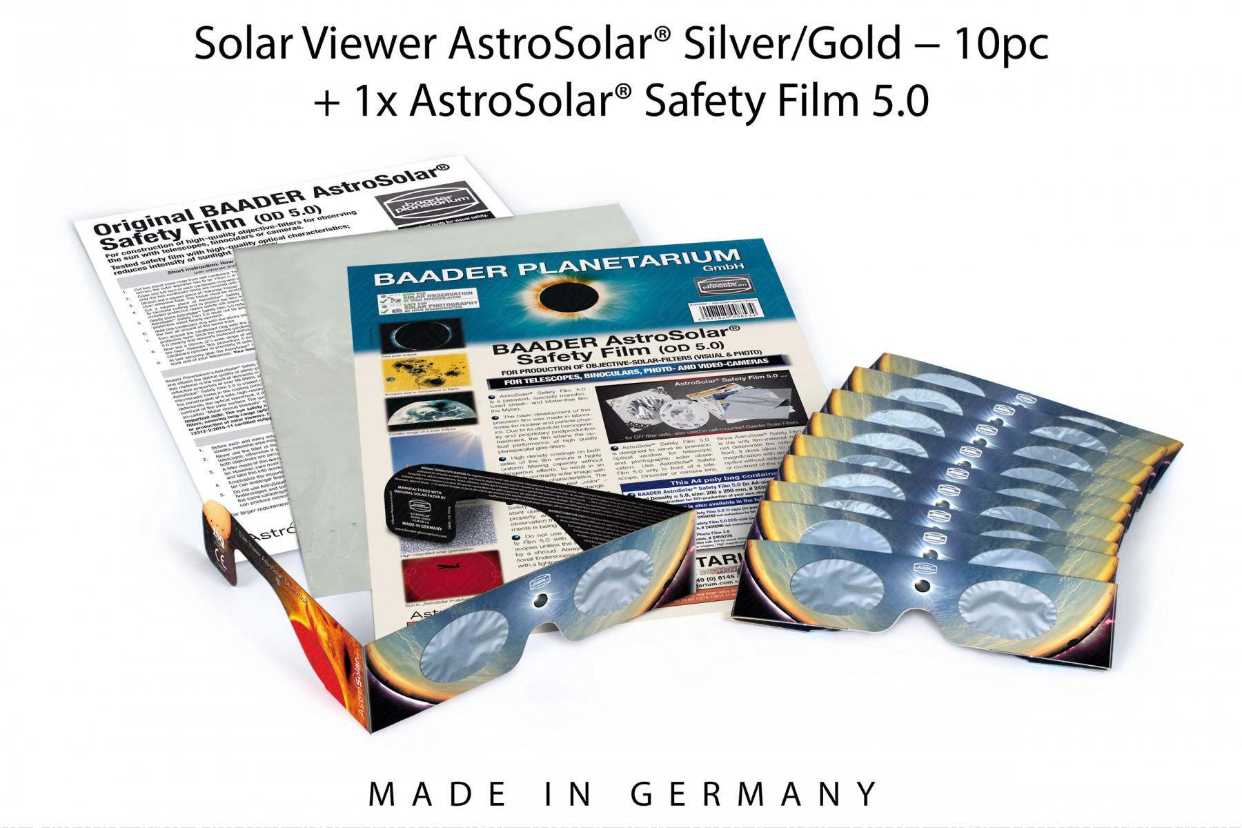 10pc Solar Viewer AstroSolar® Silver/Gold + 1x AstroSolar® Safety Film 5.0 - 20x29 cm