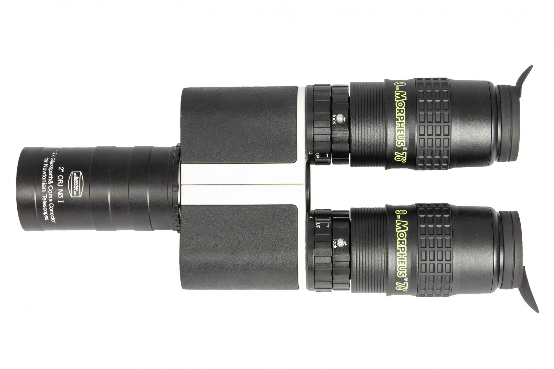 """Anwendungsbild: MaxBright II Binokular mit 2"""" Newton Glaswegkorrektor 1.7x (Front-Öffnung 46 mm) und 9mm Morpheus Okularen"""