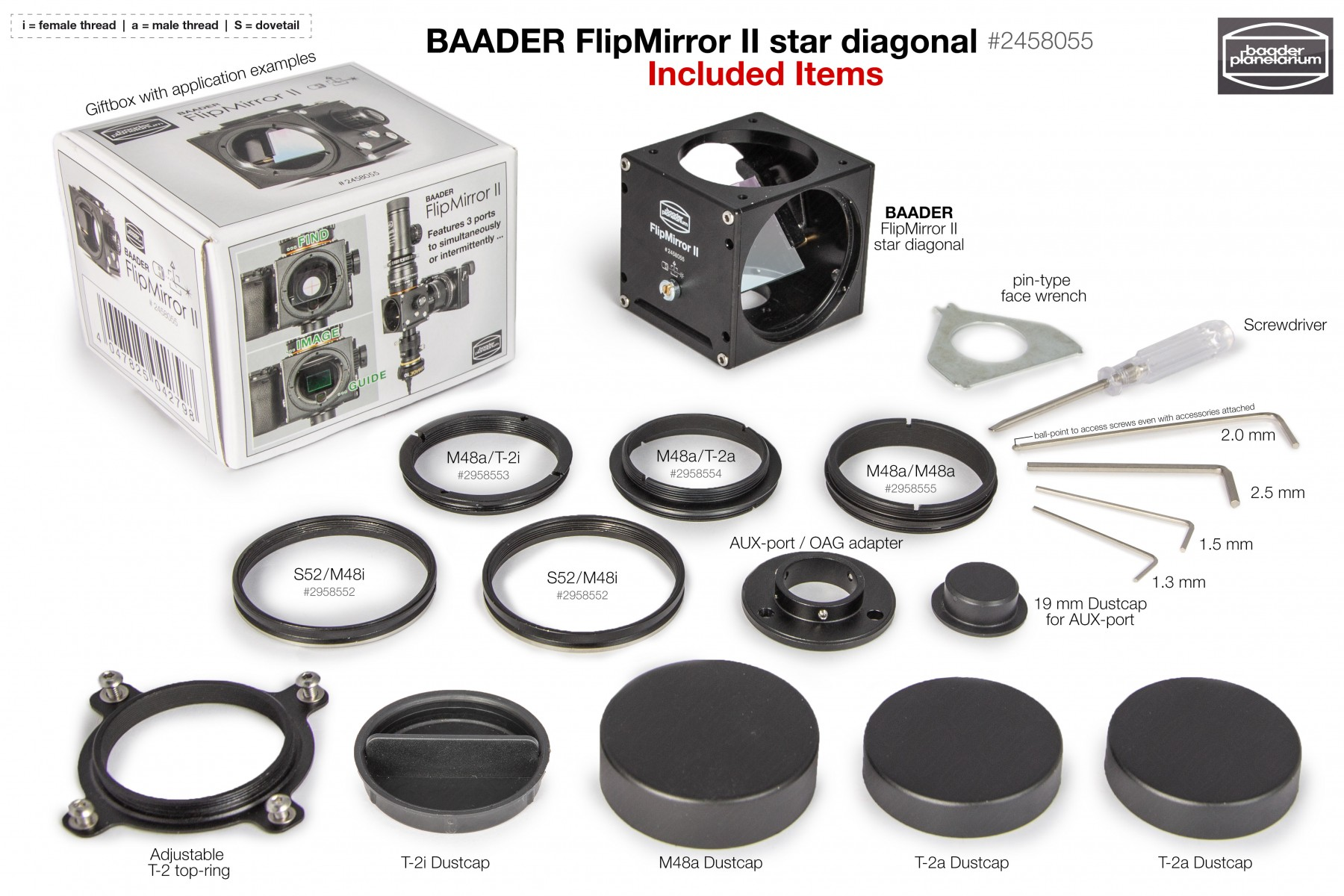 Baader FlipMirror II Star Diagonal - Included Items