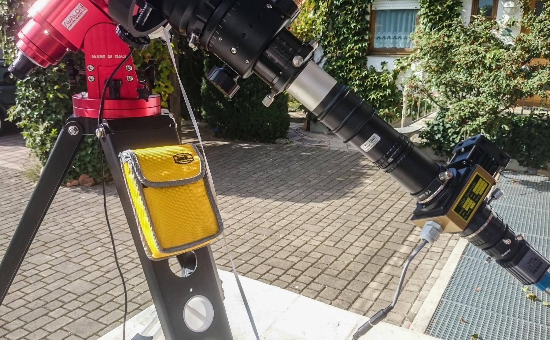 Anwendungsbild: Solar Spectrum H-alpha Filter mit telezentrischem System und Skyris Videomodul