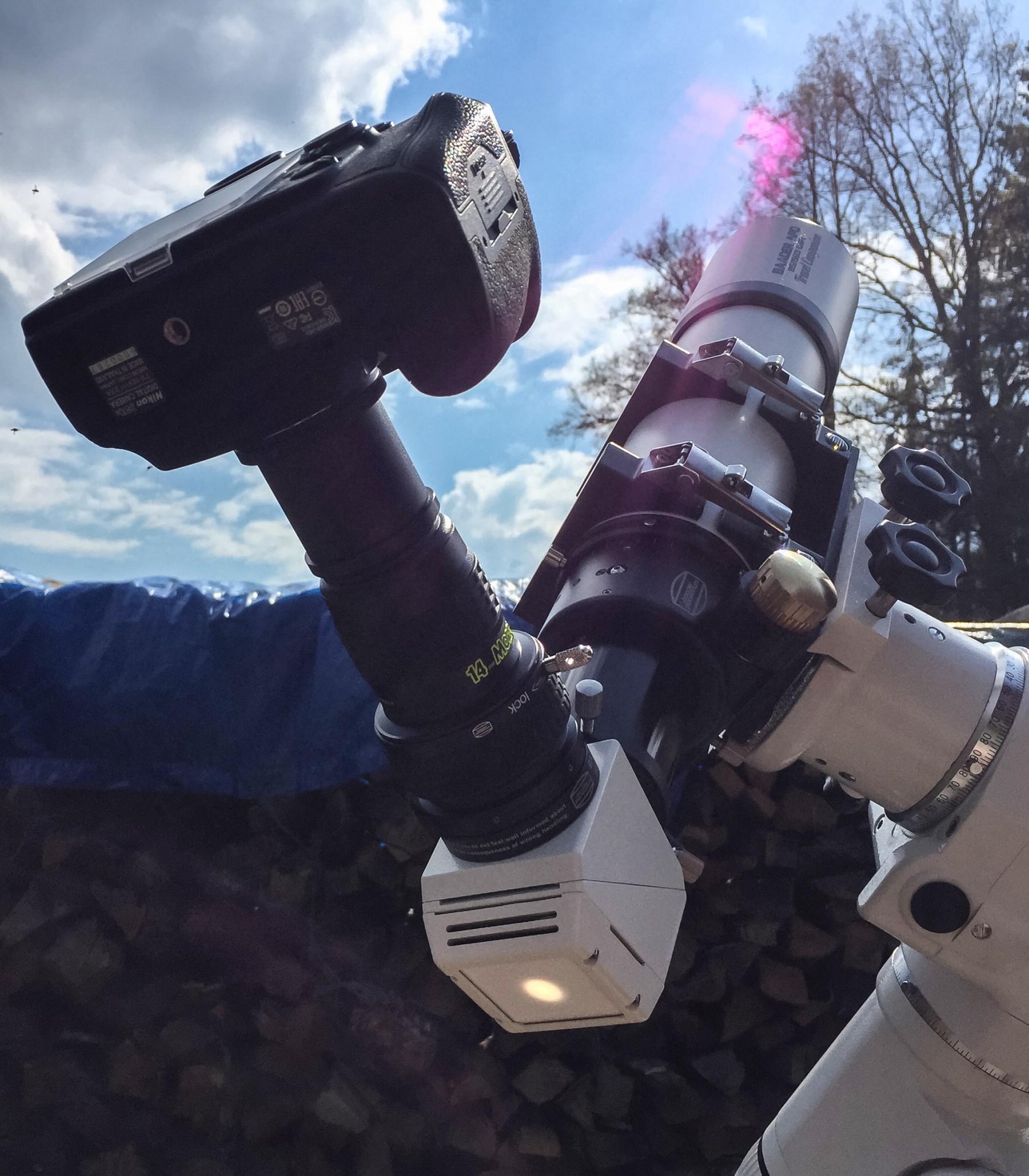 Anwendungsbild: Baader APO mit Safety Herschelkeil und Morpheus 14mm zur Okularprojektion