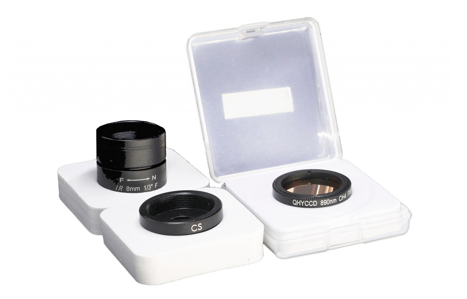 """Expansion Kit für QHY-5-III-462C: 1¼ Zoll Methanbandfilter (890nm), Weitwinkel """"All Sky Objektiv"""", CS-Mount Adapter"""