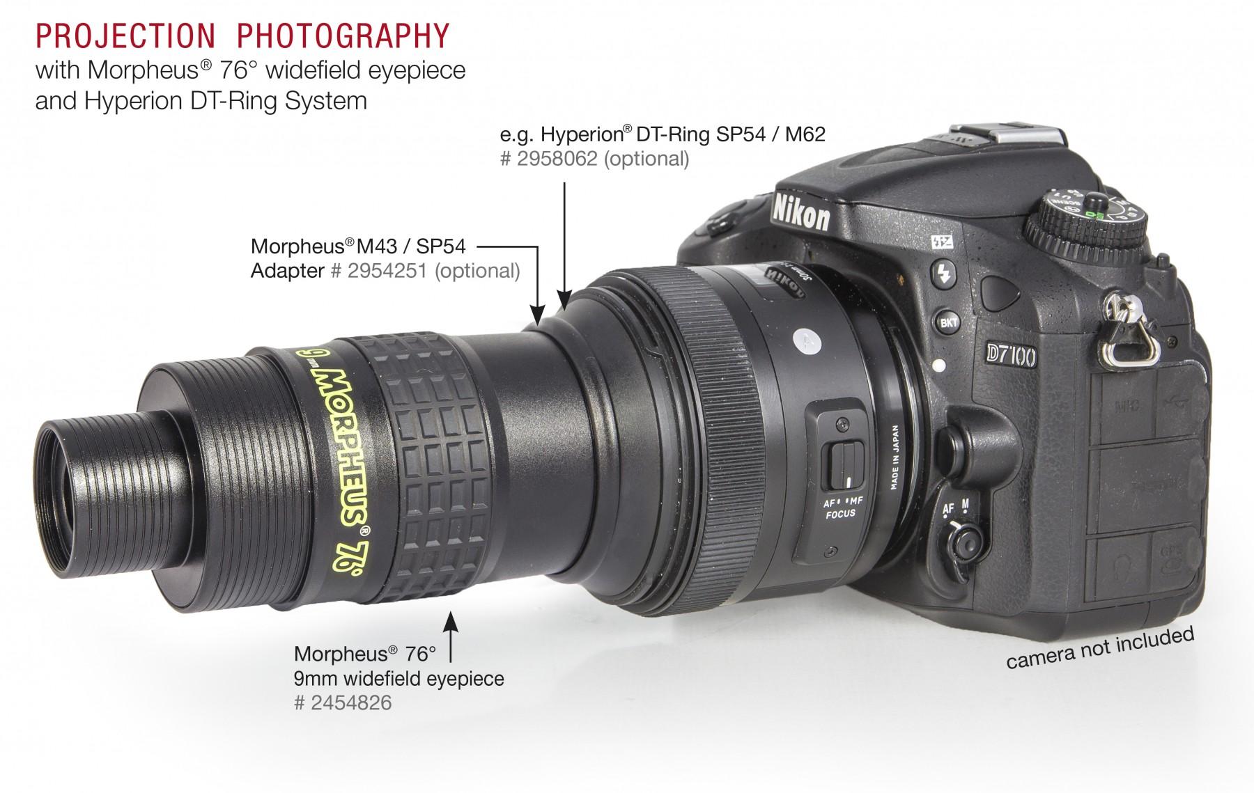 Anwendungsbild: Morpheus 9mm mit M43/SP54 Adapter und Hyperion DT-Ring (im Beispiel SP54/M62) montiert an Kameraobjektiv