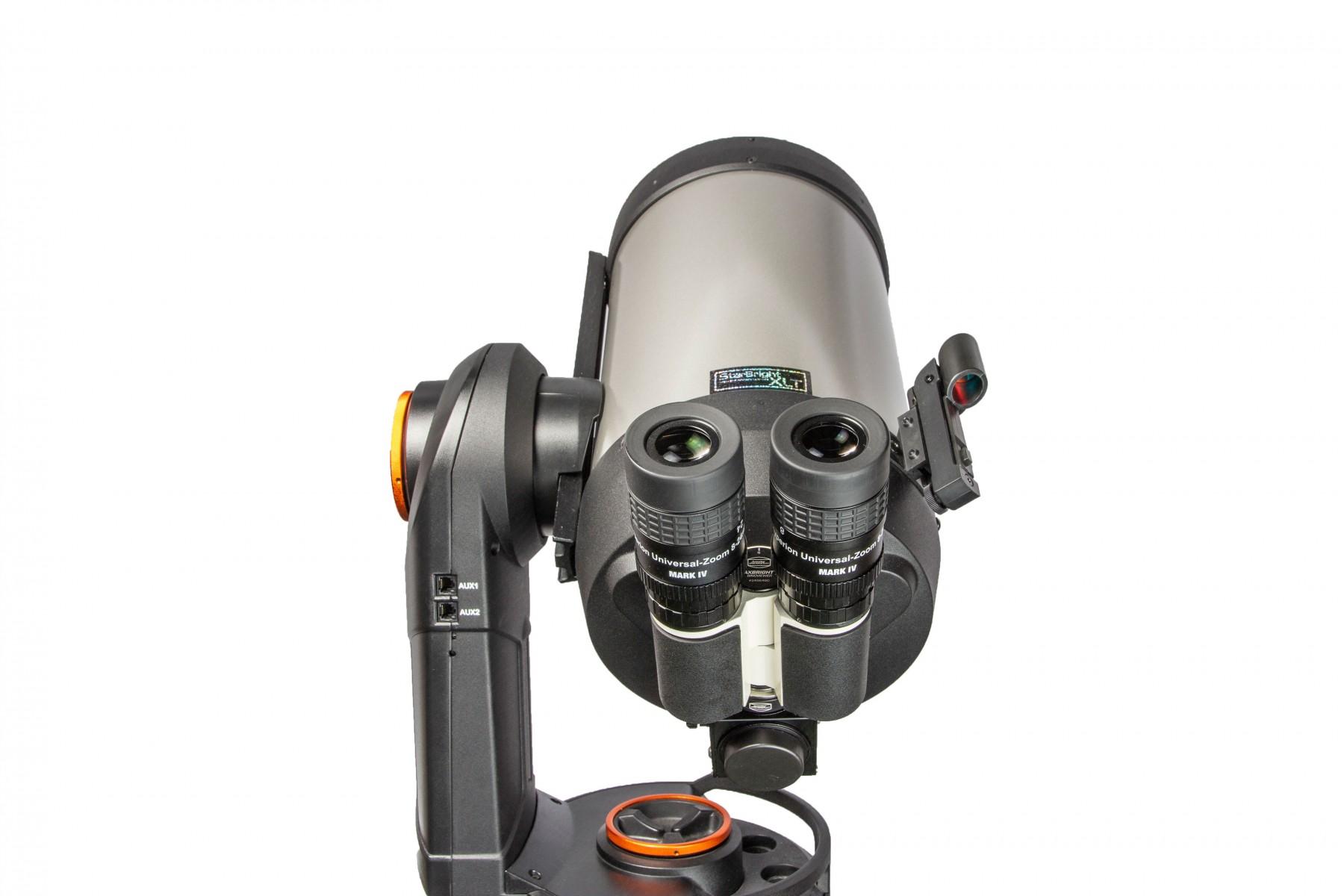 Anwendungsbild: MaxBright II Binokular mit FlipMirror II in Verwendung als vollwertiger Zenitspiegel
