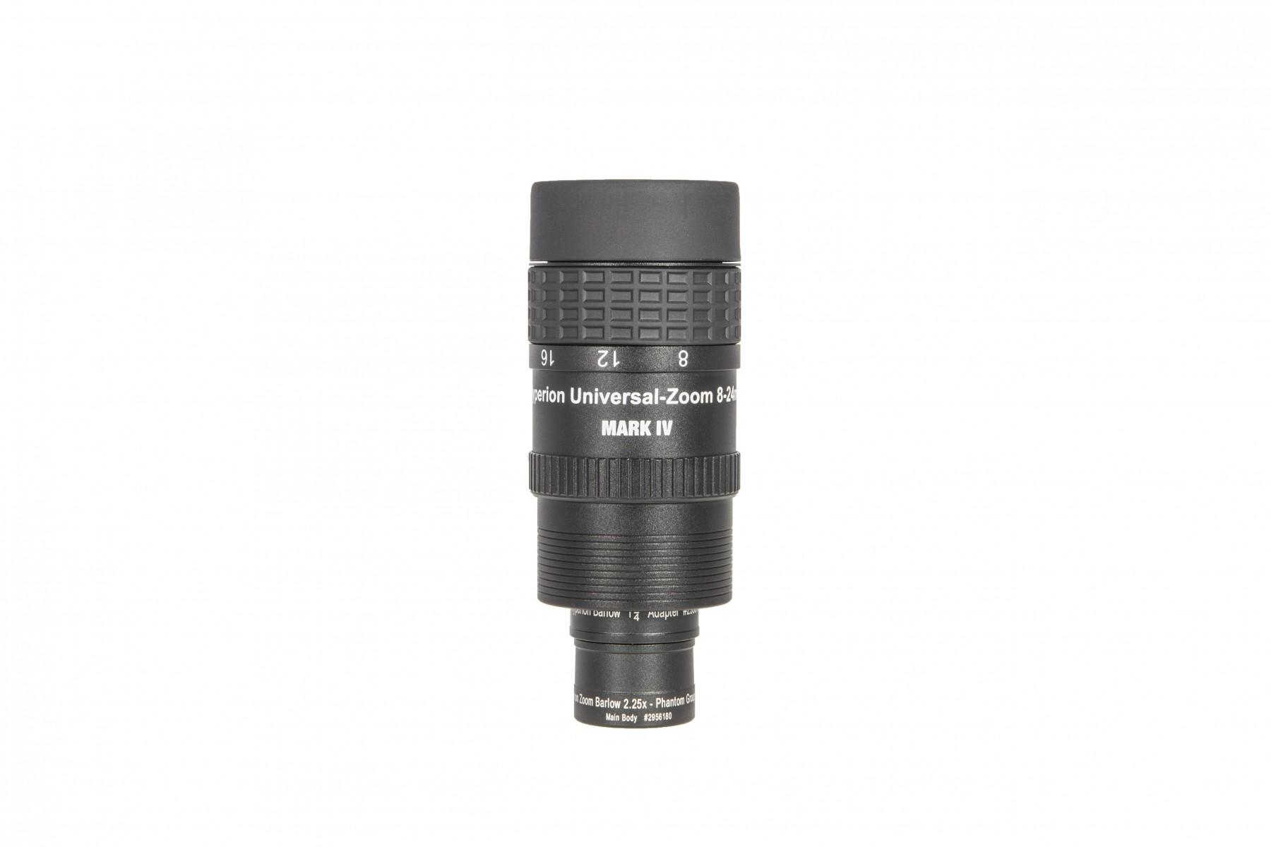 """Hyperion Universal Zoom Mark IV + 2.25x Barlow mit 2"""" Steckhülse und montiertem Spektiv-Adapter (A)"""