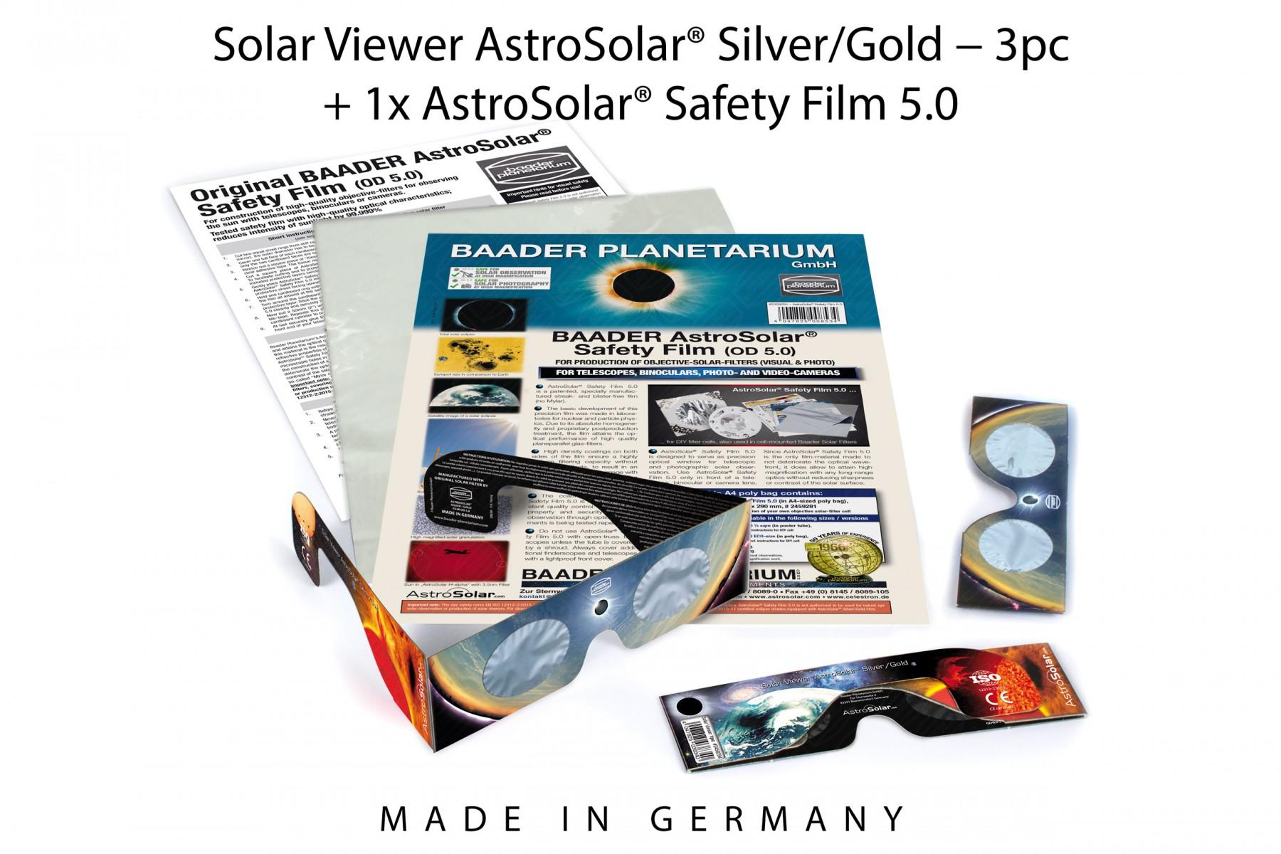 3pc Solar Viewer AstroSolar® Silver/Gold + 1x AstroSolar® Safety Film 5.0 - 20x29 cm