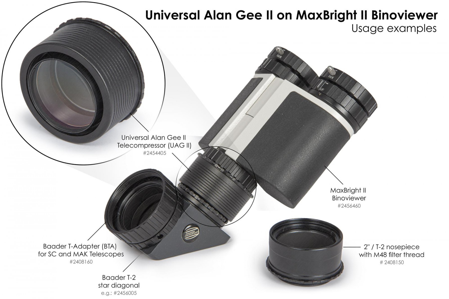 """Anwendungsbild: Universal Alan Gee II #2454405 - Maxbright #2456460 SetUp 8 mit 2""""/T-2 Steckanschluss mit M48 Filtergewinde #2408150, T-2 Zenitspiegel #2456005 und BTA für SC und MAK Teleskope #2408160"""