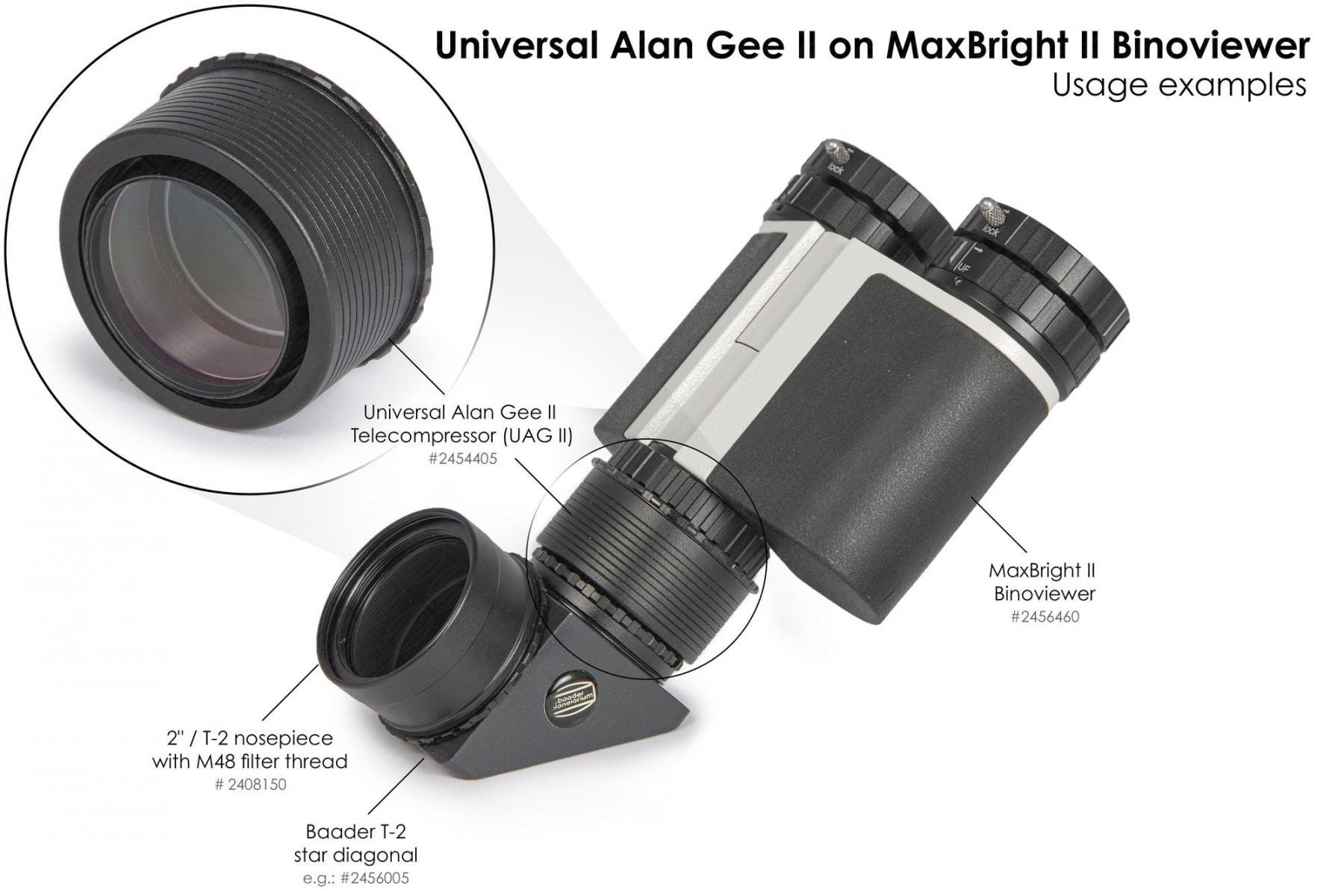 """Application image: Universal Alan Gee II #2454405 - Maxbright #2456460 SetUp 6 mit 2""""/T-2 # Steckanschluss mit M48 Filtergewinde #2408150 und T-2 Zenitspiegel #2456005"""