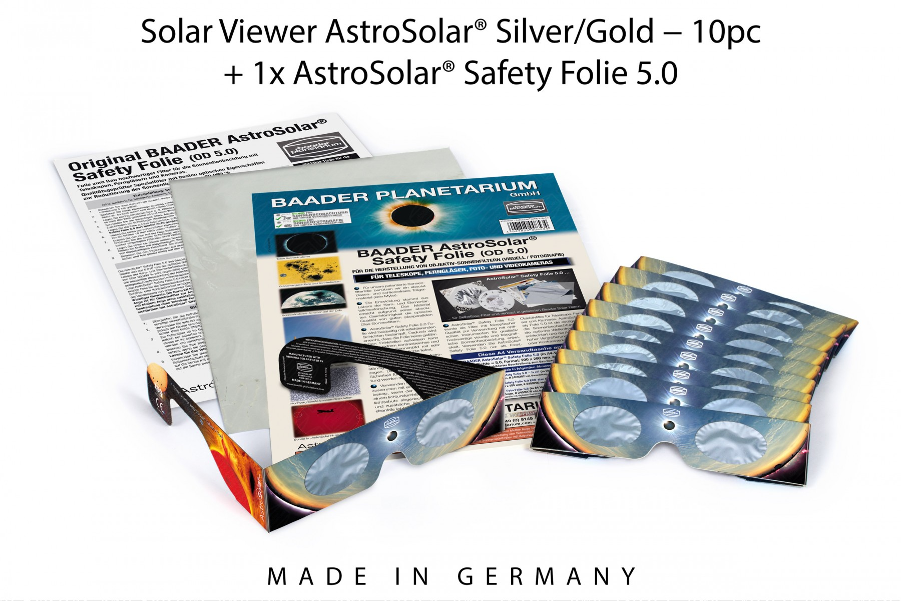 10x Solar Viewer AstroSolar® Silver/Gold + 1x AstroSolar® Safety Folie 5.0 - 20x29 cm