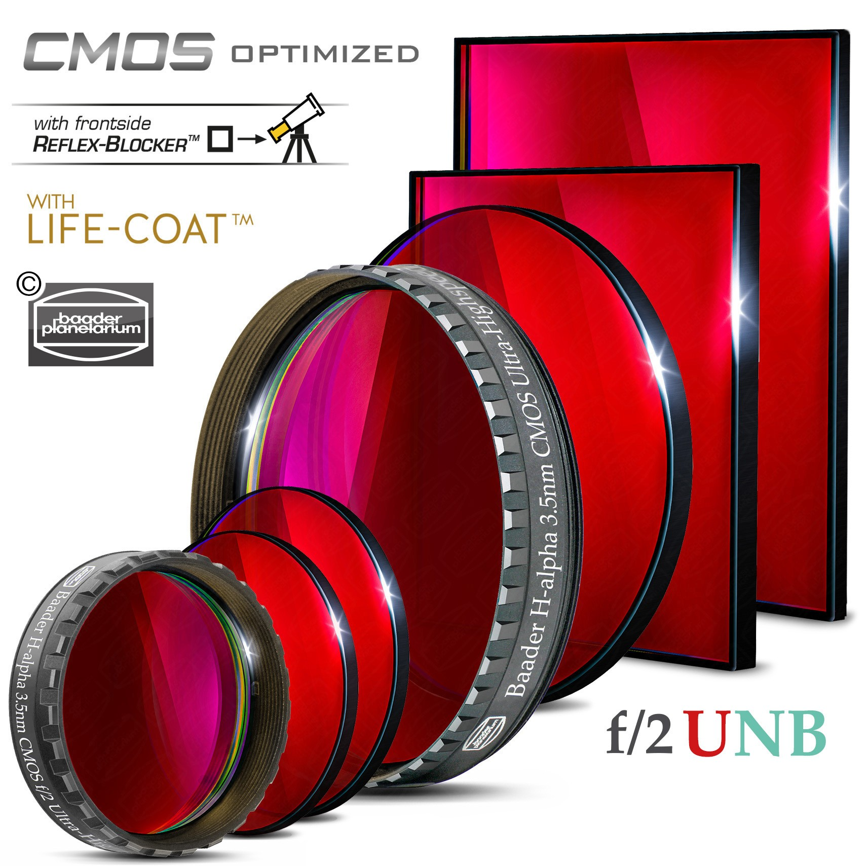 Baader H-alpha f/2 Ultra-Highspeed-Filters (3.5nm) – CMOS-optimized