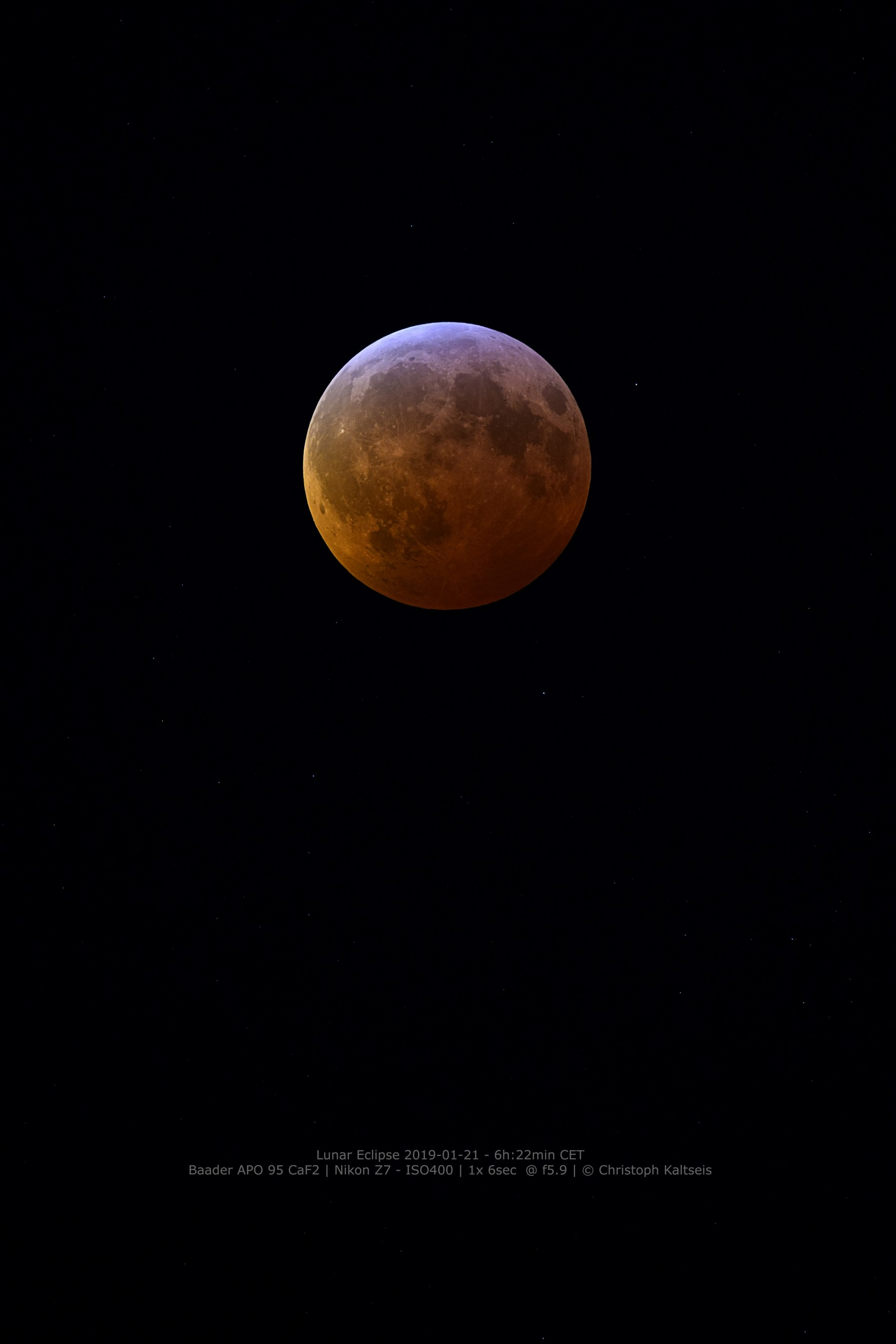 Application image: Lunar Eclipse 2019 - 01 -21, taken with Baader APO 95 CaF2, Nikon Z7, by C. Kaltseis