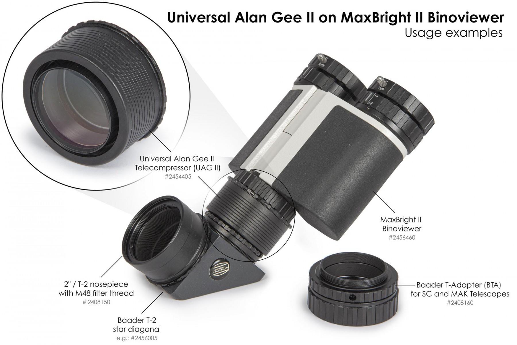 """Anwendungsbild: Universal Alan Gee II #2454405 - Maxbright #2456460 SetUp mit 2""""/T-2 Steckanschluss mit M48 Filtergewinde #2408150, T-2 Zenitspiegel #2456005 und BTA für SC und MAK Teleskope #2408160"""