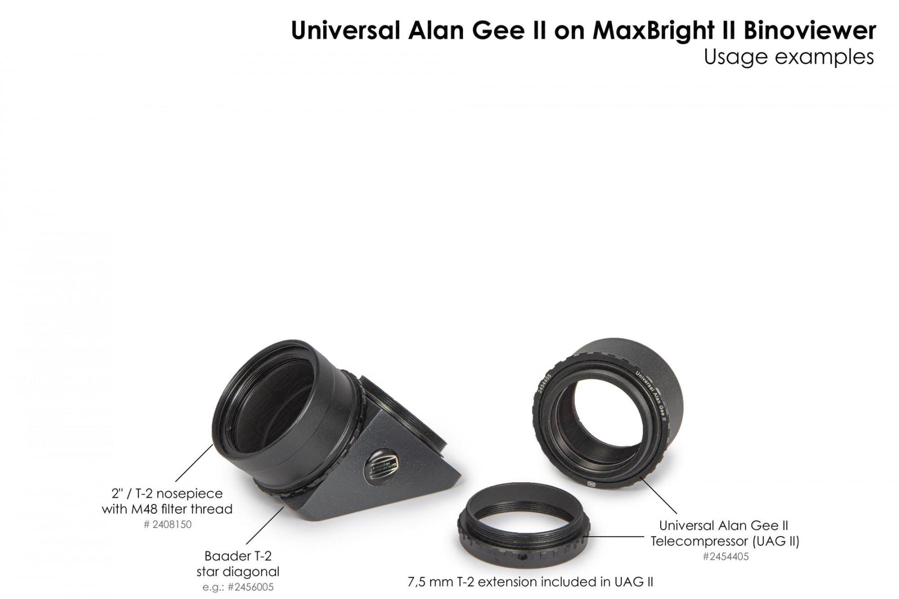 """Anwendungsbild: Universal Alan Gee II - Maxbright SetUp mit 2454405 Universal Alan Gee II #2454405,  2"""" / T-2 Steckanschluss mit M48 Außengewinde #2408150 und T-2 Zenitprisma #2456005"""
