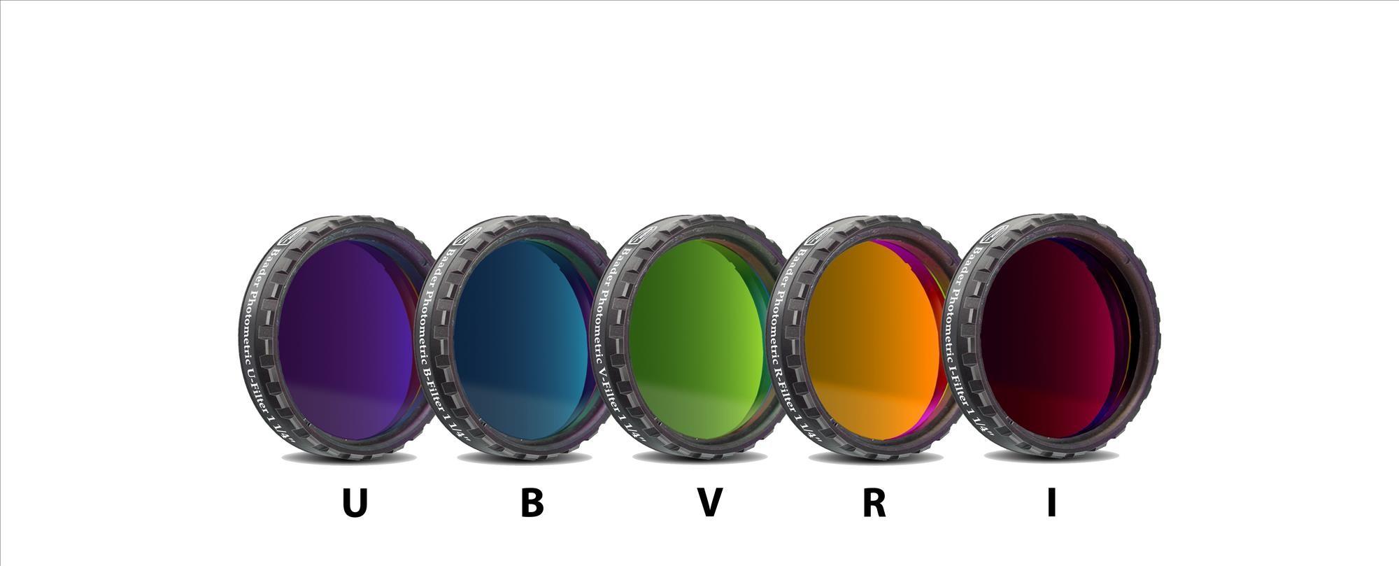 """UBVRI Filtersatz Photometrisch nach Bessel 1¼"""" (4mm Glas)"""