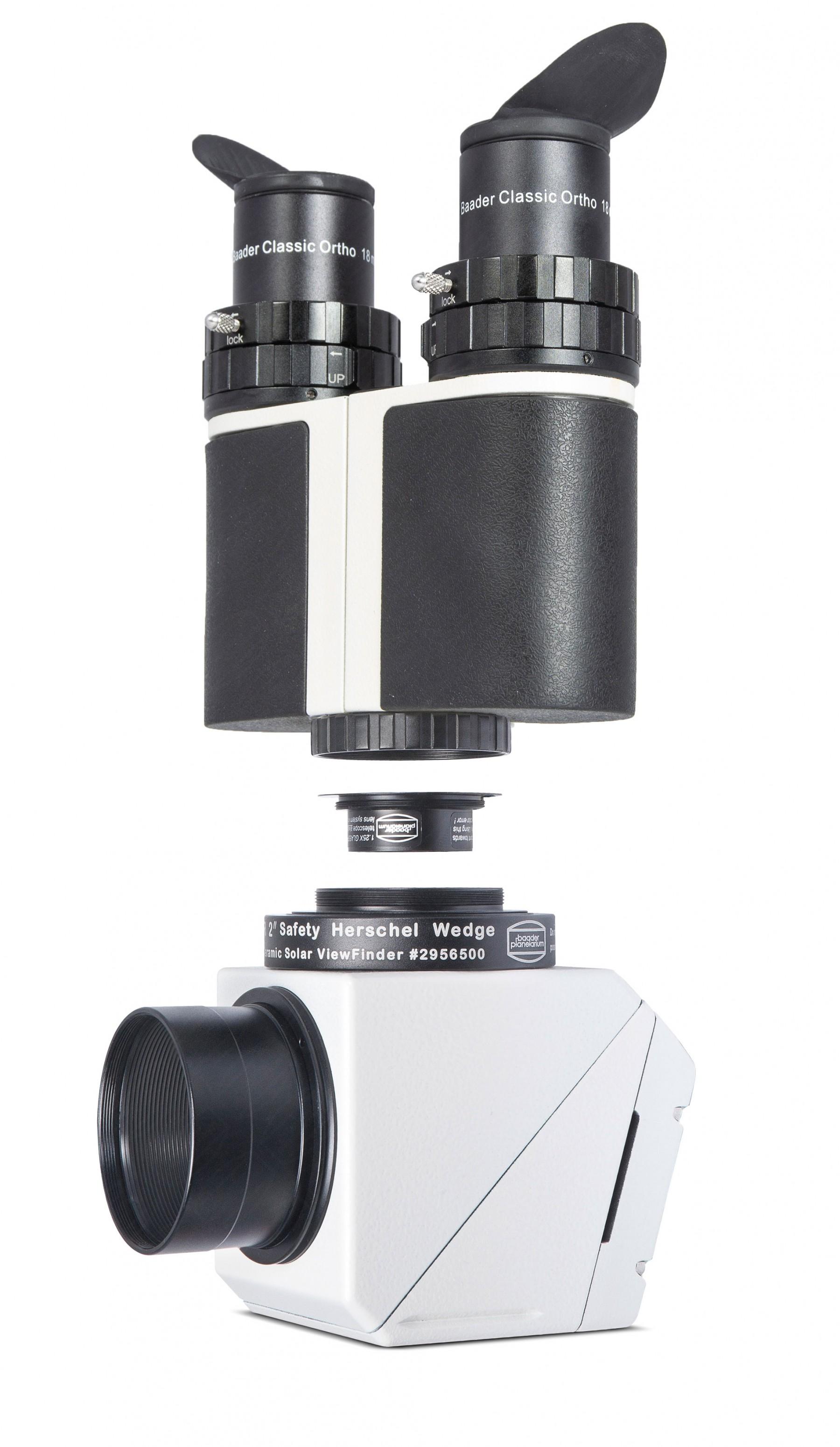 Anwendungsbild: MaxBright II Binokular am Baader Herschelkeil mit T-2 Glaswegkorrektor 1.25x