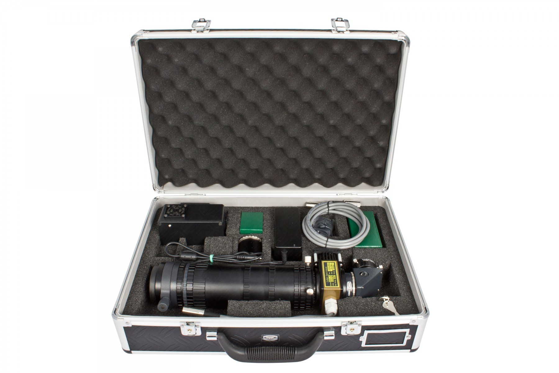 Application Image:  Example of items for a SolarSpectrum Filter (shown #2459219: SolarSpectrum Solar Observer 1.5 - 0.50 Å). Case and accessories are optional available