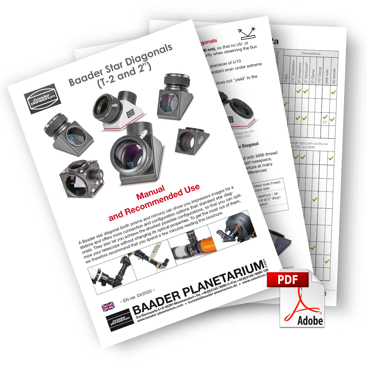 """Manual and Recommended Use: Baader Star Diagonals (T-2 and 2"""")"""