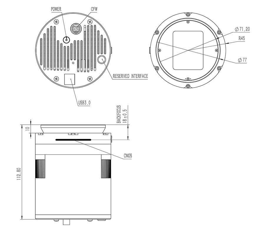 QHY410C Technical  Drawings